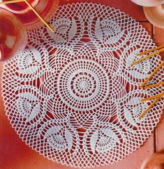 Beautiful Lace Doily Using White Cotton Yarns