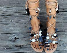 Greek Sandals Tie Up Gladiator Sandals Pom Pom by DimitrasWorkshop