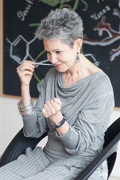 Ann Gottlieb short hairstyle for grey hair
