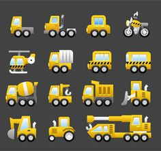 Today we present you a free machinery icon pack. Many models of construction equipment are presented here: a cement mixer, a dump truck, an excavator, a crane, a rig, a road milling machine, a fire...