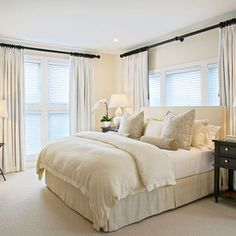 This is a very simple but romantic bedroom scheme. The accented black and deep brown make the room contemporary but also comfortable and cosy. I would love this simple scheme as my personal relaxing area.