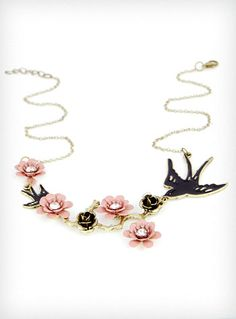 Birds & Branches Necklace in Pink | PLASTICLAND
