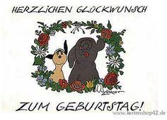 Blumenkranz -Loriot - Geburtstags-Postkarte