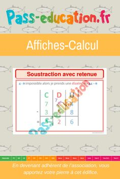 Poser une addition ce1 ce2 cm1 cm2 affiche pour la classe calcul ce1 ce2 cm1 - Soustraction avec retenue cm1 ...