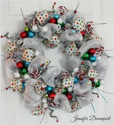 DIY::Whimsical Christmas Wreath in modern tourquoise, green and red color scheme Whimsical Christmas, Christmas Door, Outdoor Christmas, Winter Christmas, Whoville Christmas, Christmas Time, Green Christmas, Holiday Time, Christmas Stuff