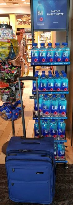 Don't you just hate it when the    #BusinessMeeting is in Fiji? I'm drinking FIJI Water to get ready for my #FijiAirways flight on the 22nd.    #Passport is ready. Bag not packed yet, but I stopped by this display after Friday's meeting ... as my inspiration. 19 hours to get there. Only one stop - in LA. I love my job!!    #Pathfinder    #RevolutionPlus   #TurboLite    #PX10    #Gear    #Presidential    #Aviator    #BestLuggage    #QualityMatters    #RoadWarrior