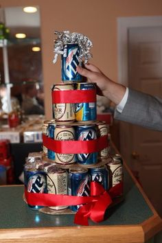 Surprise wedding gift for the groom. Beer cake! Auzenne wedding