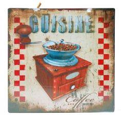 Plaque Décorative Murale Cuisine - Moulin A Café En Métal - Décoration À…