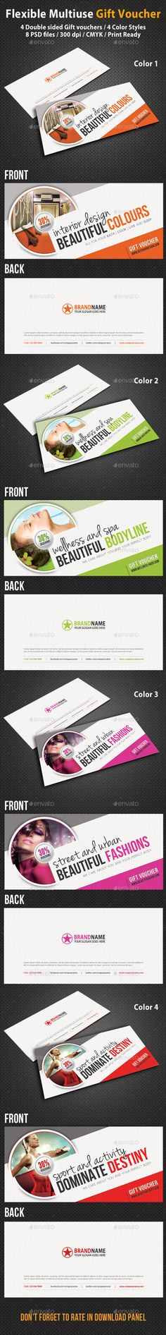 Gift Voucher Template, Font logo and Business cards - gift voucher examples