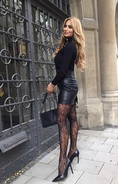 Great Legs, Beautiful Legs, Gorgeous Women, Leather Dresses, Leather Skirt, Sexy Outfits, Cool Outfits, European Models, Beautiful High Heels