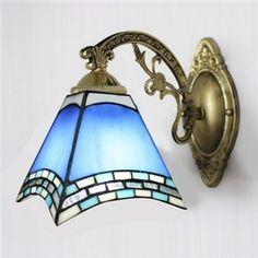 Euro Style Bleu Vitrail Tiffany lampe vers le bas Applique murale