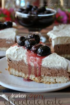 Cherry Chocolate Torte with a macadamia nut crust, nutella filling and fresh whipped cream!