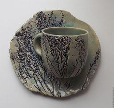 "Купить Чайная пара ""травы"" - чайная пара, чашка с блюдцем, чашка для чая, чашка для кофе"