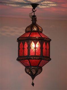 Moroccan Lantern - Red£ Moroccan lantern lampshade with red coloure. - Moroccan Lantern – Red£ Moroccan lantern lampshade with red coloured glass in a dark - Moroccan Mirror, Moroccan Lighting, Moroccan Lanterns, Moroccan Decor, Moroccan Style, Moroccan Bedroom, Moroccan Furniture, Moroccan Interiors, Chandeliers