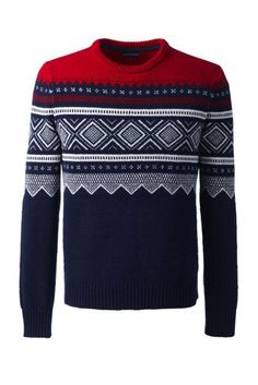 Men's+Lambswool+Ski+Fair+Isle+Crewneck+Sweater+from+Lands'+End