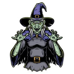 Colorful Spooky Green Witch wearing a hat vector illustration. From Halloween t-shirt designs. 100% vector illustration with editable text. Ready to print everywhere, super quality. Download on www.dgimstudio.com. #witch #spooky #halloween #vector #vectorillustration #adobeillustrator