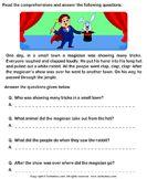 Reading comprehension stories - Træn læseforståelse med de yngre klasser - Seks små historier med tilhørende interaktive opgaver. Historierne kan blive læst højt, mens en farvemarkering af teksten følger oplæsningen.