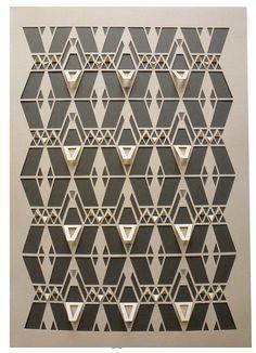 Geometric Papercut - Peach and Grey Navajo Sarah Louise Matthews Kirigami, Graphisches Design, Paper Design, Paper Cutting, Textures Patterns, Print Patterns, Fabric Textures, Embroidery Patterns, Impression Textile