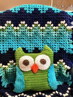 Sea foam crochet blanket with matching owl