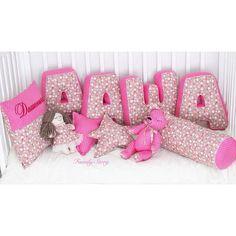 Комплект для детской девочки. Подушки буквы, именная подушка с вышивкой, подушки звезды, валик, именной мишка, текстильная кукла.
