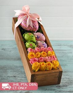 Buy Easter Egg and Flower Box Online - NetFlorist Boxing Online, Online Florist, Easter Flowers, Flower Boxes, Mind Blown, Easter Eggs, Floral, Gifts, Stuff To Buy