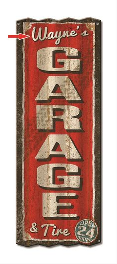 "Personalized Corrugated Metal Garage Sign:  Made from corrugated 18-gauge aluminum, this sign looks like it was removed from an old, abandoned garage. Best of all, we personalize it for you for FREE! Distressed for a true vintage look. 17"" x 44"""