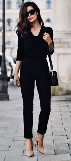 Fashion - black pants and top and nude heels