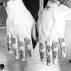 Explore cool Germanic language and lettering designs with the top 79 best Rune tattoos. Discover Viking era and Norse mythology ink ideas. Hand And Finger Tattoos, Hand Tattoos For Guys, Hand Poked Tattoo, Viking Rune Tattoo, Norse Tattoo, Viking Tattoos, Forearm Tattoos, Body Art Tattoos, Sleeve Tattoos