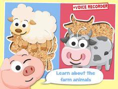 Play with Farm Animals Cartoon Jigsaw Game for toddlers and preschoolers by Banana Apps Kids - best top fun games for 1 school 2 boys 3 baby 4 girls and 5 mini toddlers leuke spelletjes voor jongens meisjes kinderspelletjes