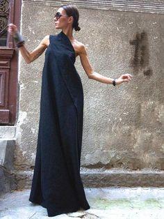 Maxi Dress / Black Kaftan Linen Dress / One Shoulder Dress / Extravagant Long Dress / Party Dress / Daywear Dress - Maxi Elegant black linen one shoulder dress Unique sophisticated extravagant dress Perfect for vari - Black Kaftan, Dress Black, Black Maxi, Long Black Dresses, Formal Dresses Long Plus Size, Black One Shoulder Dress, Grey Maxi, Long Skirts, Looks Party
