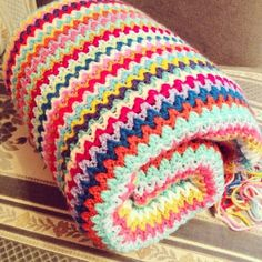Beautiful #colorful crochet blanket from missmotherhook