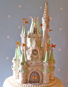 Gorgeous Fairytale Castle Cake.  Love the pastel colors and intricate details!