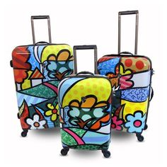 Britto Collection B702 Flowers 3-Piece Luggage Set