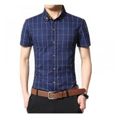 Dress Shirt Men 2019 Summer Men's Shorts Sleeve Slim Fit Checkered Shirts Camisa Social Masculina Chemise Homme - Eagle Arrows Casual Shirts For Men, Men Casual, Men Shirts, Shirt Men, Plaid Shirts, Chemise Slim Fit, Short Outfits, Shirt Style, Shorts