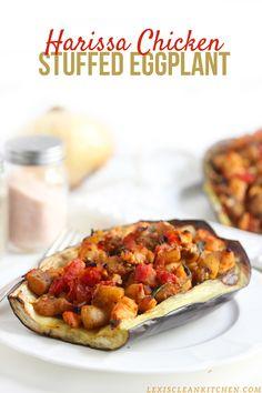 Harissa chicken stuffed eggplant: eggplant chicken breast,  onion, garlic, mushrooms, spinach 1 can diced tomatoes, Harissa, fresh basil