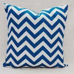 OUTDOOR Pillow Zig Zag Chevron Teal Blue & White Pillow Cover 18x18. $18.00, via Etsy.