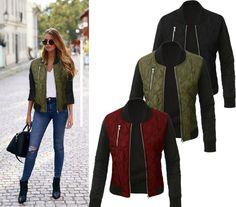 50da3eadb36 2016 autumn winter Casual bomber jacket women basic coats zipper Quilted coat  jaqueta feminina chaquetas mujer outerwear-in Basic Jackets from Women s ...