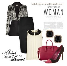 """""""Job Interview #1"""" by hastypudding ❤ liked on Polyvore featuring Preen, Olympia Le-Tan, Darling, Givenchy, Manolo Blahnik and Fragments"""