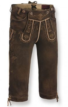 Bavarian leather trousers Hochficht truffleantique chamois tanned knee length h-beam