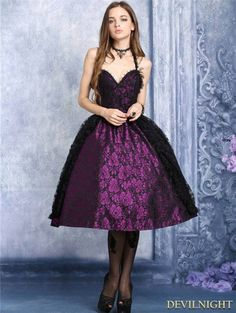 Purple and Black Lace Halter Gothic Dress - Devilnight.co.uk