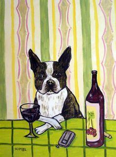 BOSTON TERRIER art - wine- wine art, PRINT, poster, gift, modern, folk 11x14 poster, dog, dog art