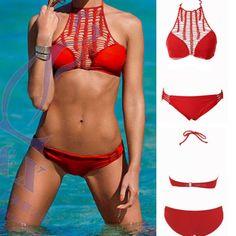 Red Crochet Halter Bikini Set $15