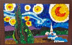 Starry Night with bottle caps