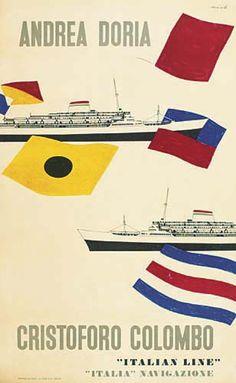 Andrea Doria - Cristoforo Colombo - Italian Line - 1954 - (Enrico Ciuti) -