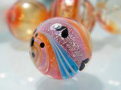 Glitter Swirl Focal Bead (1)  by Caroline Dousi by carolinedousi on Etsy