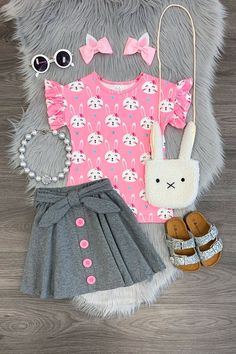 Brielle Bunny Skirt Set You are in the right place about baby girl dresses red Here we offer you the Little Girl Outfits, Toddler Girl Outfits, Little Girl Fashion, Little Girl Dresses, Toddler Fashion, Little Girls, Kids Fashion, Fashion Images, Fashion Clothes
