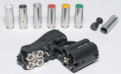 wasp - OSA PB-4-2 nonlethal pistol  Rubber bullets, signal flares, flashbang (stun), pepper gel, and illumination ammunition