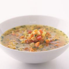 Red Lentil Soup Recipe Soups with olive oil, onion, garlic cloves, carrots, canned tomatoes, celery ribs, ground cumin, salt, red lentils, water, chicken broth, fresh parsley