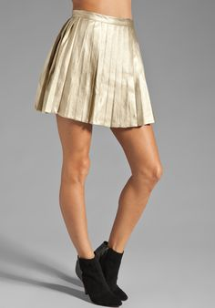 2ca5a2889 MINKPINK Romy and Michelle High Waisted Pleated Skirt in Gold Romy And  Michelle, Pleated Skirts