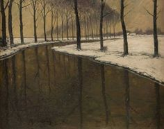 Max Clarenbach (1880-1952) - Winter at the Erft, oil on canvas, 40 x 51 cm.